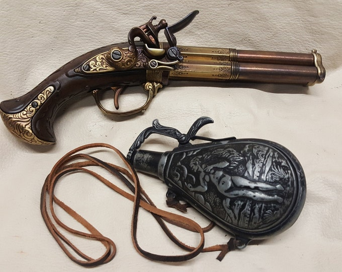 18th Century Aged French 3 Barrel Flintlock Pistol With Powder Flask