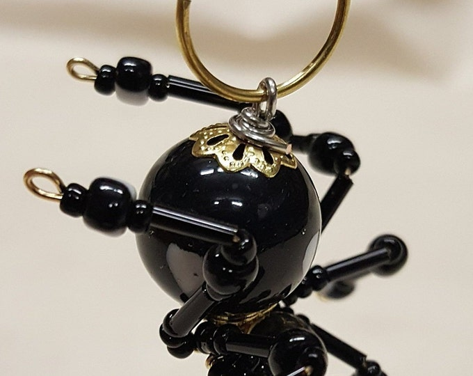 Small Steampunk Beaded Black Heart Spider