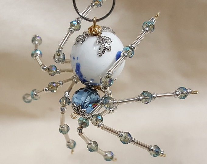 Steampunk Crystalline White/Blue Splotched Ice Spider w/Glass Faceted Beads