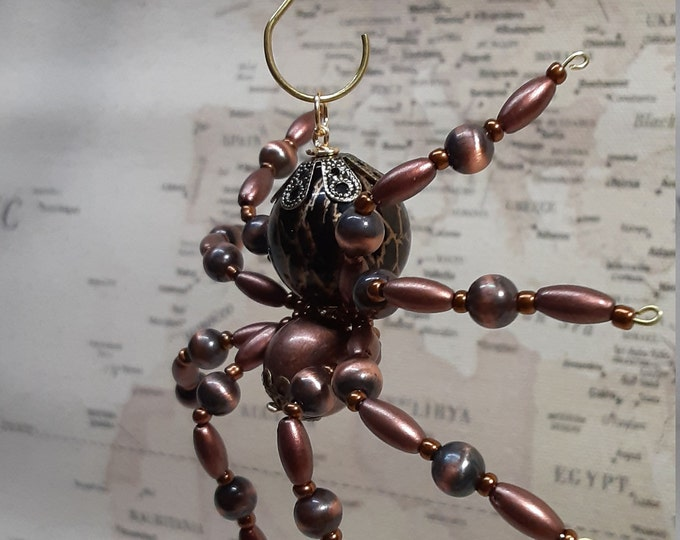 Metallic Steampunk Beaded Copper Spider