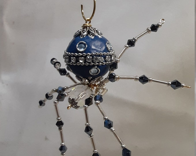 Steampunk Ceramic Beaded Blue and Silver Christmas Dew Drop Spider