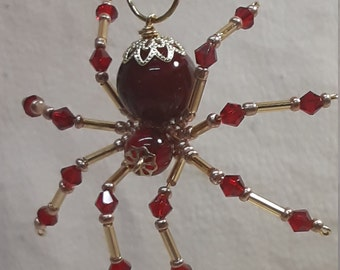 Steampunk Beaded Blood Red Spider with Crystal Legs