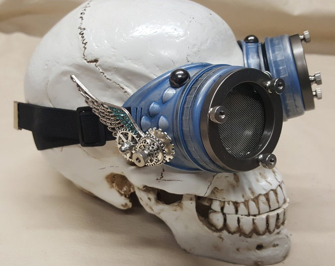 Steampunk Winged Blue Valkyrie Goggles