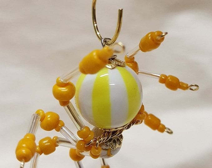 Small Steampunk Beaded Yellow/White Striped Spider