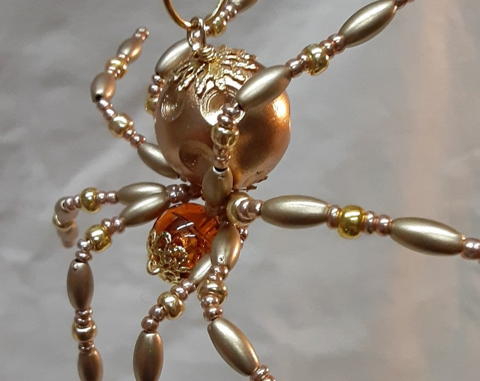 Metallic Steampunk Crystalline Dimpled Beaded Golden Spider