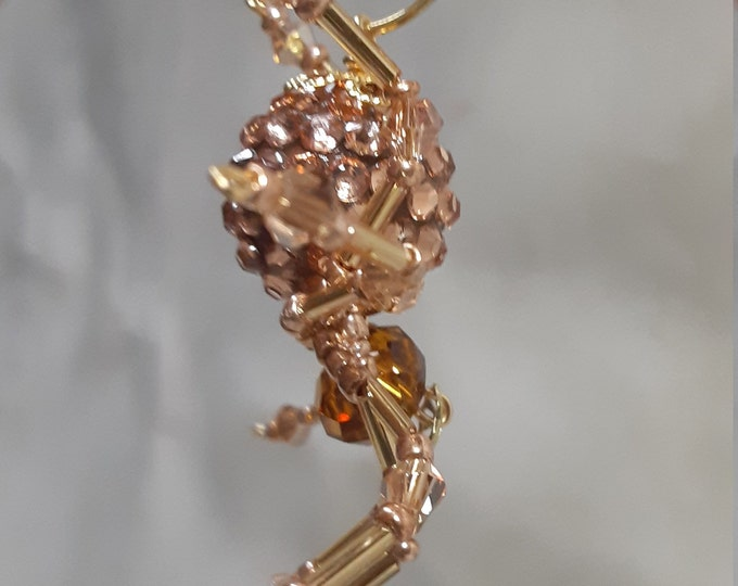 Steampunk/Christmas Rose Gold Jeweled Beaded Spider