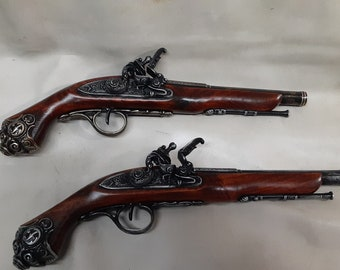 18th Century Non-Firing Aged Pirate's Flintlock Pistol Replica in Pewter or Brass and Pewter Finish