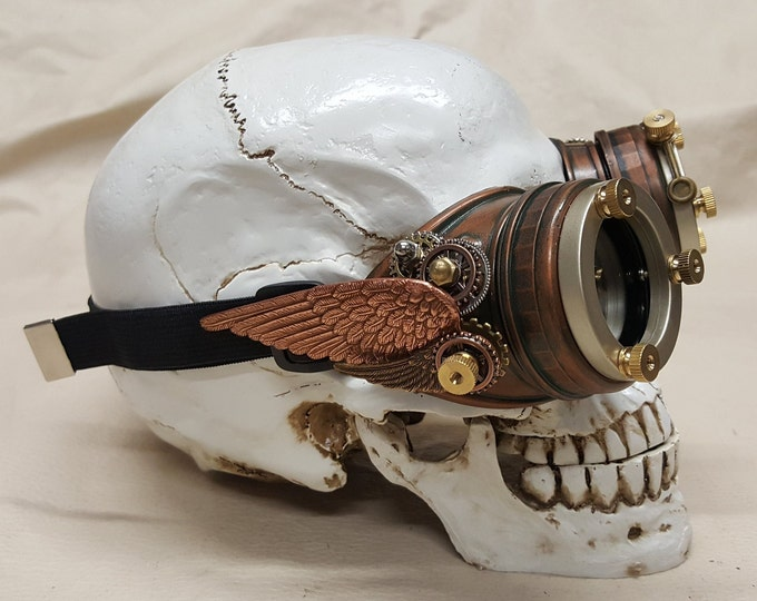 Steampunk Double Winged Aged Copper Valkyrie Goggles