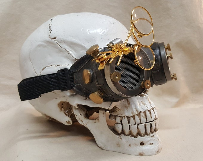 Steampunk Engineer Goggles With Triple Golden Magnifying Loupes