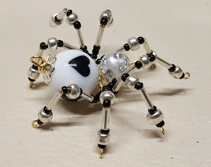 Small Steampunk Beaded White Heart Spider