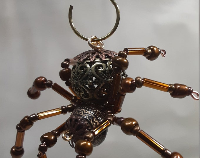 Small Steampunk Metal Beaded Spider