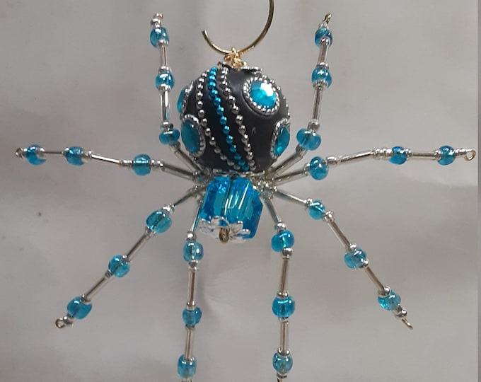 Steampunk/Christmas Dew Drop Blue Ornamental Crystalline Jeweled Spider