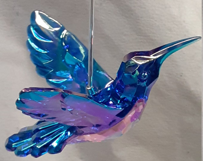 Silver Themed Acrylic Crystal Hummingbird Sun Catcher With Back Swept Wings in 4 Different Colors