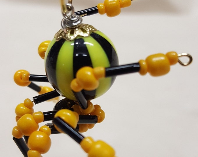 Small Steampunk Beaded Yellow/Black Striped Spider