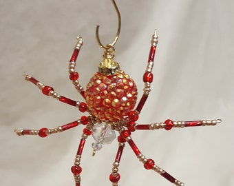 Steampunk Beaded Red and Gold Opalescent Be-Jeweled Spider