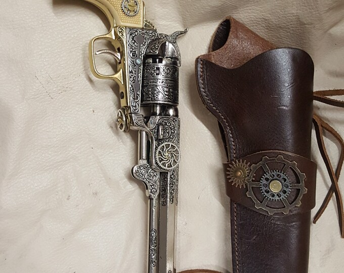 Steampunk 1851 Colt Navy Revolver Non Firing Replica w/Holster