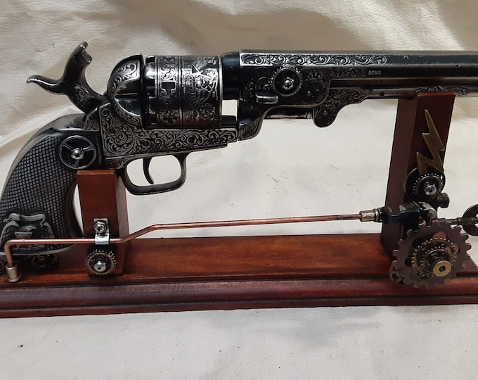 Steampunk 1851 Colt Navy Revolver Non Firing Replica w/Holster and Steampunk Display Stand