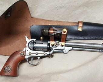 Steampunk 1860 Griswald and Gunnison Revolver Non Firing Replica W/Scope and Holster