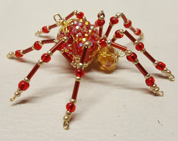 Steampunk Beaded Red Opalescent Be-Jeweled Christmas Spider