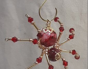 Steampunk/Christmas Swirled Red Spider with Crystal Legs