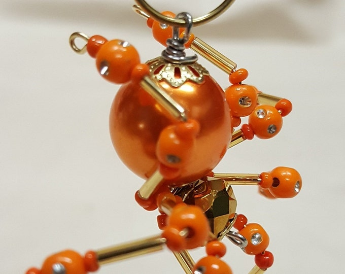 Small Steampunk Crystalline Beaded Orange Spider