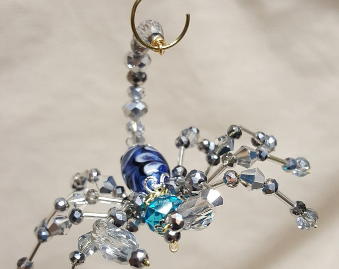 Steampunk Beaded Crystalline Blue Scorpion