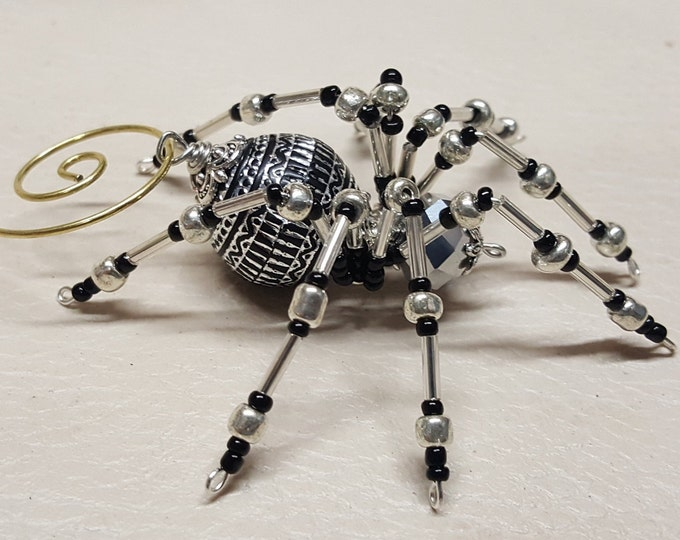 Steampunk Silver Beaded Spider