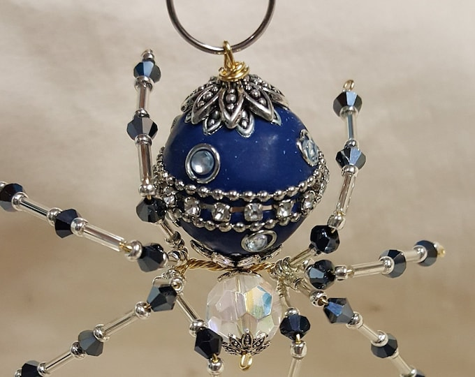 Steampunk Decorative Ceramic Bead/ Crystalline Blue Spider w/Glass Faceted Leg Beads
