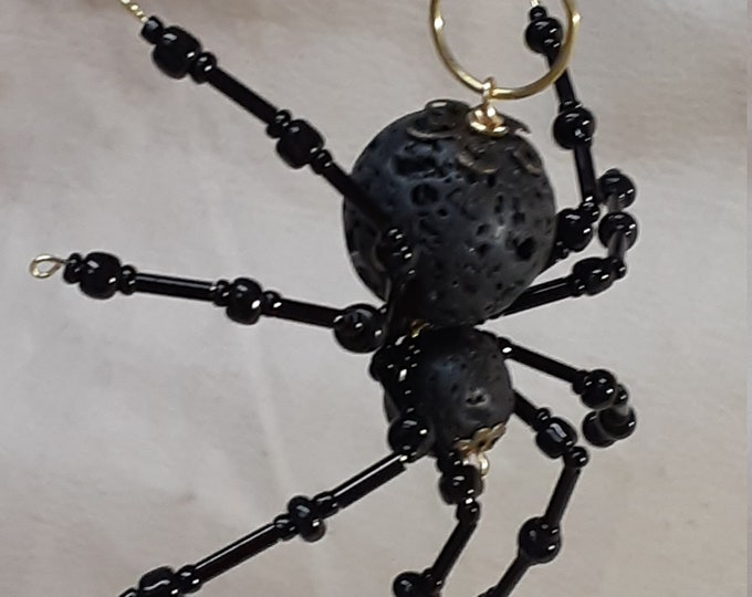 Steampunk Beaded Black Lava Rock Spider
