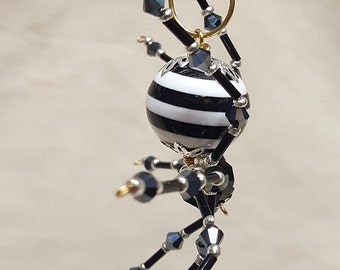 Steampunk Crystalline Black/White Striped Spider