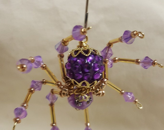 Steampunk Crystalline Jewel Encrusted Violet Ice Spider