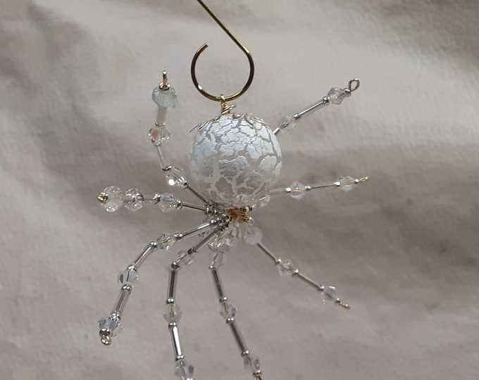 Steampunk/Christmas Frosted Crystalline Snow Spider w/Glass Faceted Leg Beads