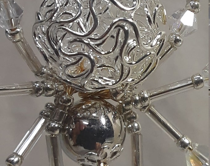 Steampunk Crystalline Silver Metallic Spider