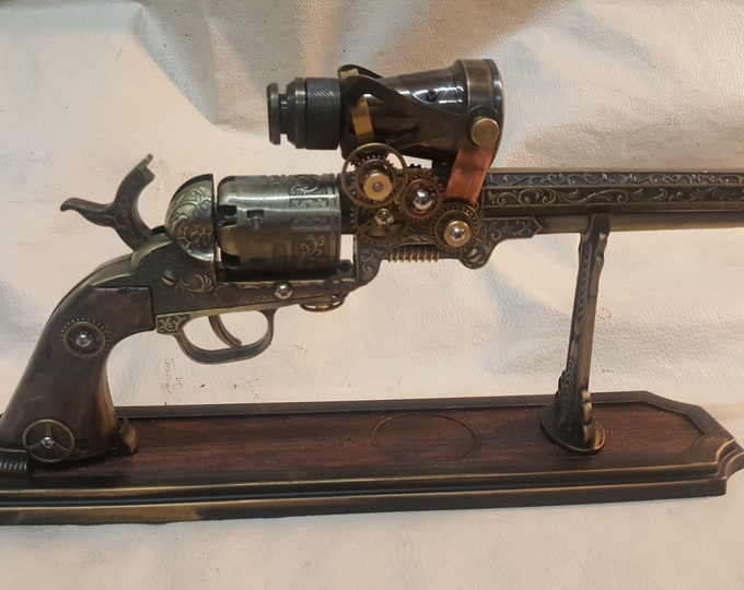 Steampunk 1851 Colt Navy Revolver Non Firing Replica W/Scope and Optional Holster