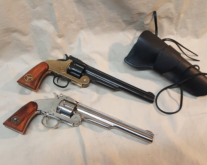 1869 Schofield Nickel or Brass/Gunmetal Revolver Non Firing Replica w/Holster