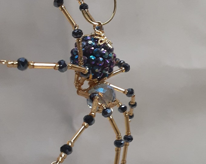 Steampunk/Christmas Opalescent Blue Jewel Encrusted Dew Drop Spider