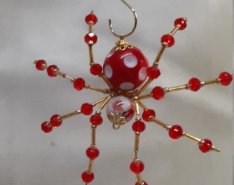 Steampunk Beaded Red/White Dimpled Dew Drop Spider