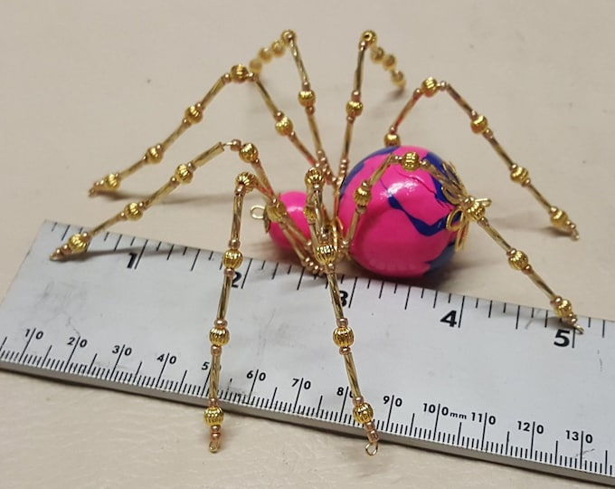 Extra Large Pink and Blue Clay Beaded Spider