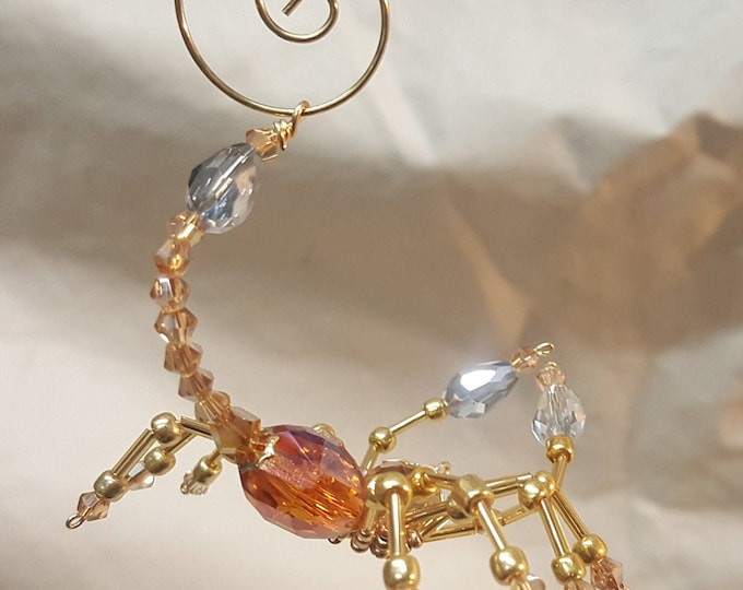 Steampunk Beaded Crystalline Amber Scorpion