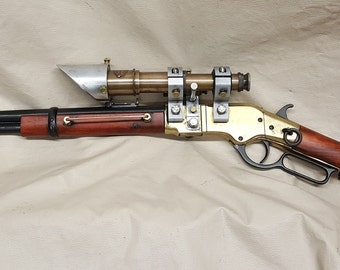 Steampunk 1866 Winchester Lever Action Carbine Rifle W/Double Scopes