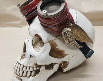 Steampunk Double Winged Red Valkyrie Goggles