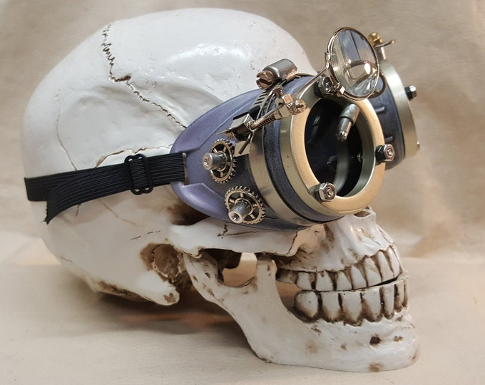 Violet Steampunk Engineer Goggles With Magnifying Loupe