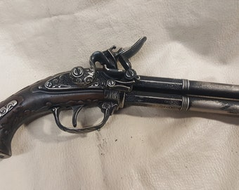 Steampunk Style 18th Century Aged French Double Barrel Flintlock