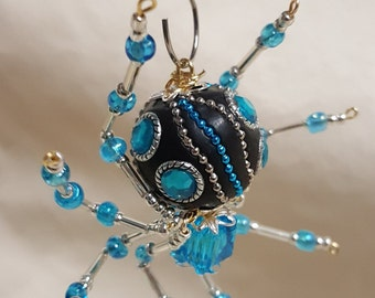 Steampunk Decorative Ceramic Bead/ Crystalline Blue Spider w/Glass Faceted Leg Beads