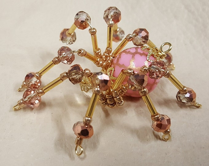 Steampunk Beaded Pink and Gold Veined Spider