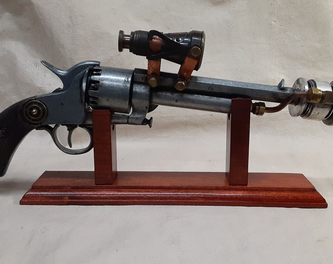 Steampunk 1860 Le Mat Aether Revolver W/Scope and Wooden Display Stand