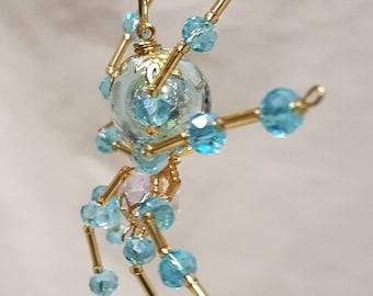 Steampunk/Christmas Crystalline Blue Ice Spider