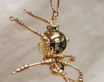 Metallic Steampunk Crystalline Beaded Golden Spider