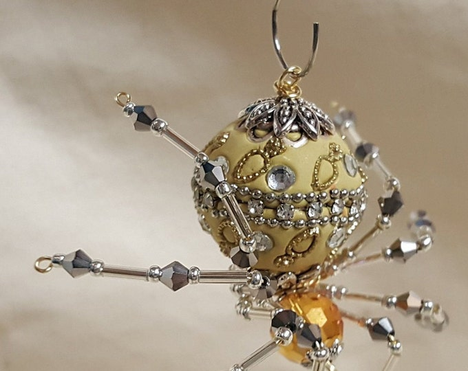 Steampunk Decorative Ceramic Bead/Crystalline Spider w/Glass Faceted Leg Beads