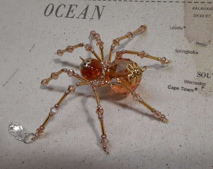 Steampunk Crystalline Amber Dew Drop Spider